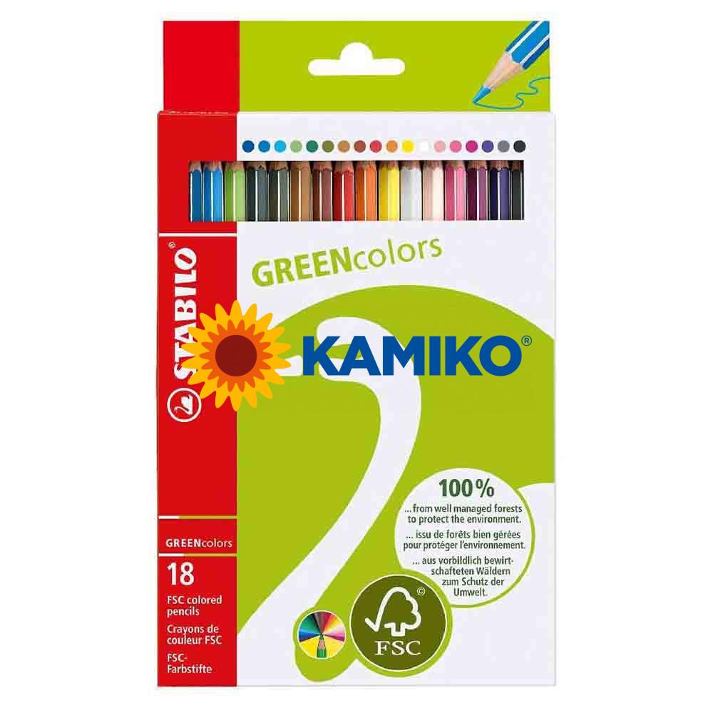 Farbičky STABILO GREENcolors, 18 ks