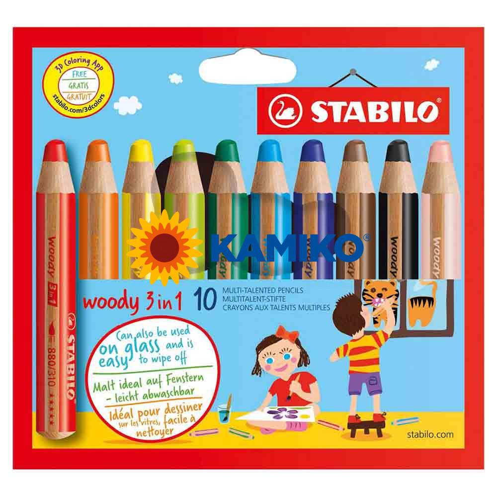 Farbičky STABILO woody 3 in 1, 10 ks