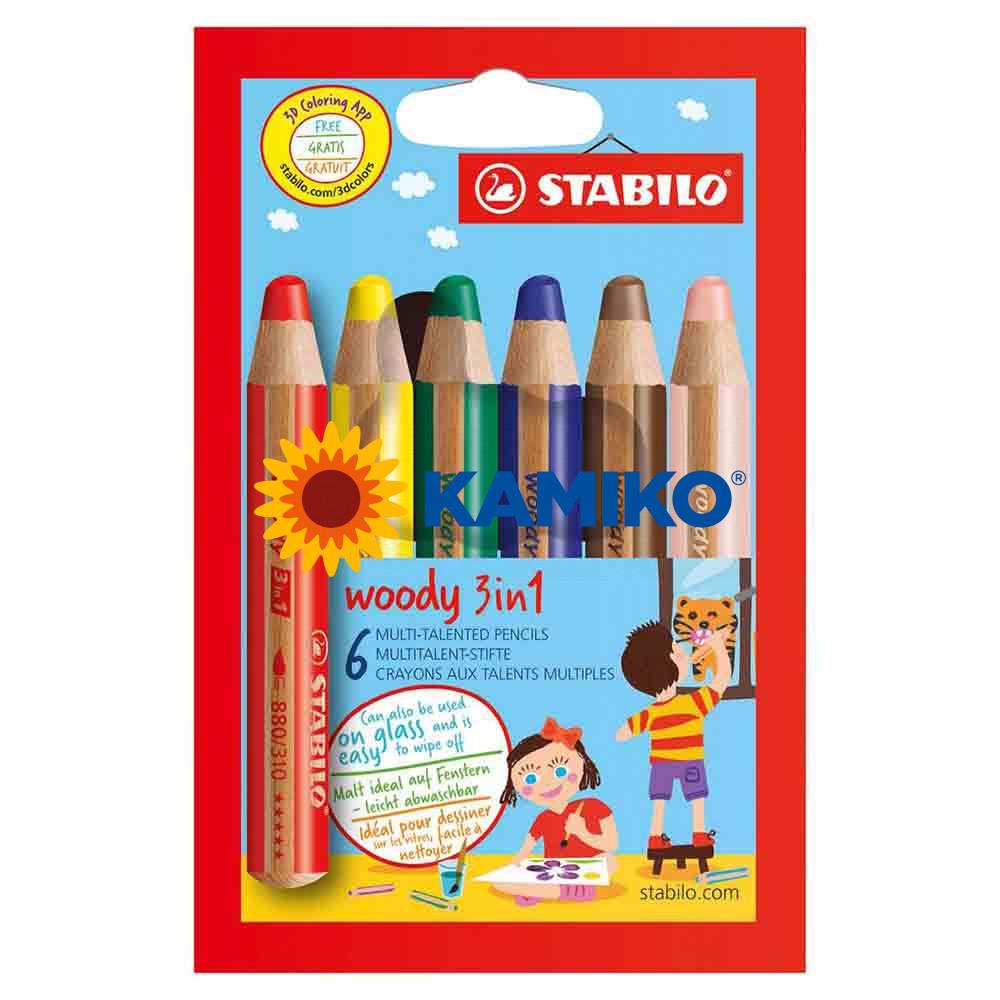 Farbičky STABILO woody 3 in 1, 6 ks