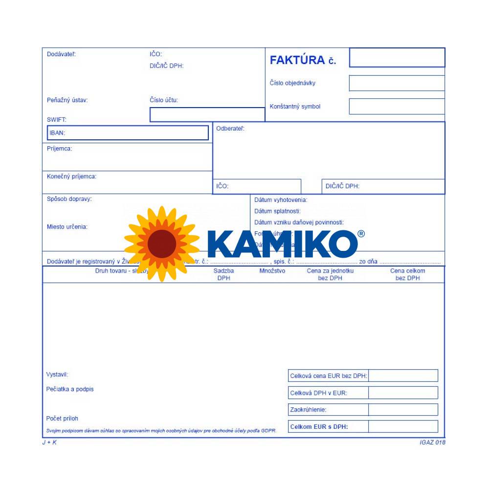 Faktúra daňový doklad 21 x 20 cm samoprepisovacia, 100 listov