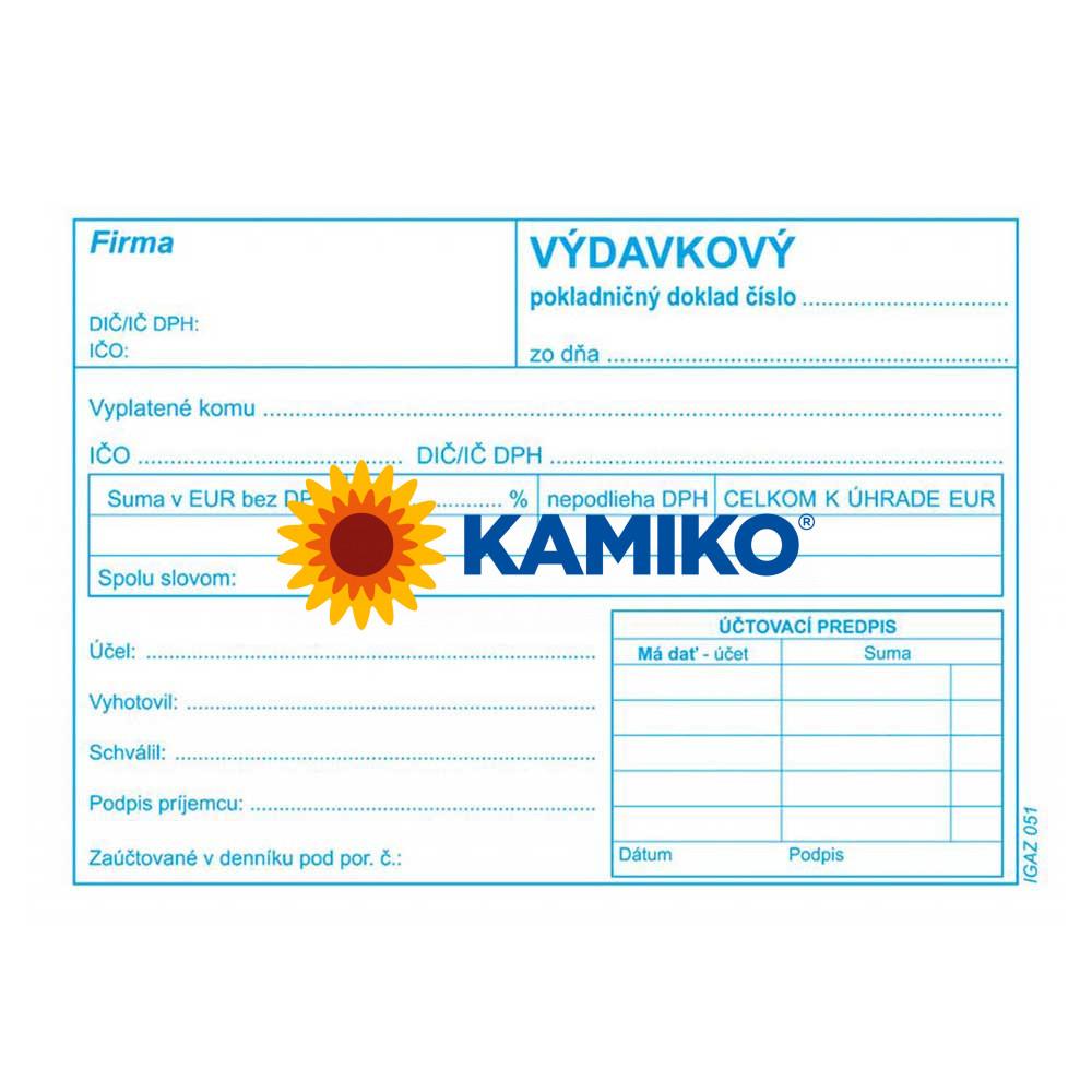 Výdavkový pokladničný doklad s DPH A6, 100 listov