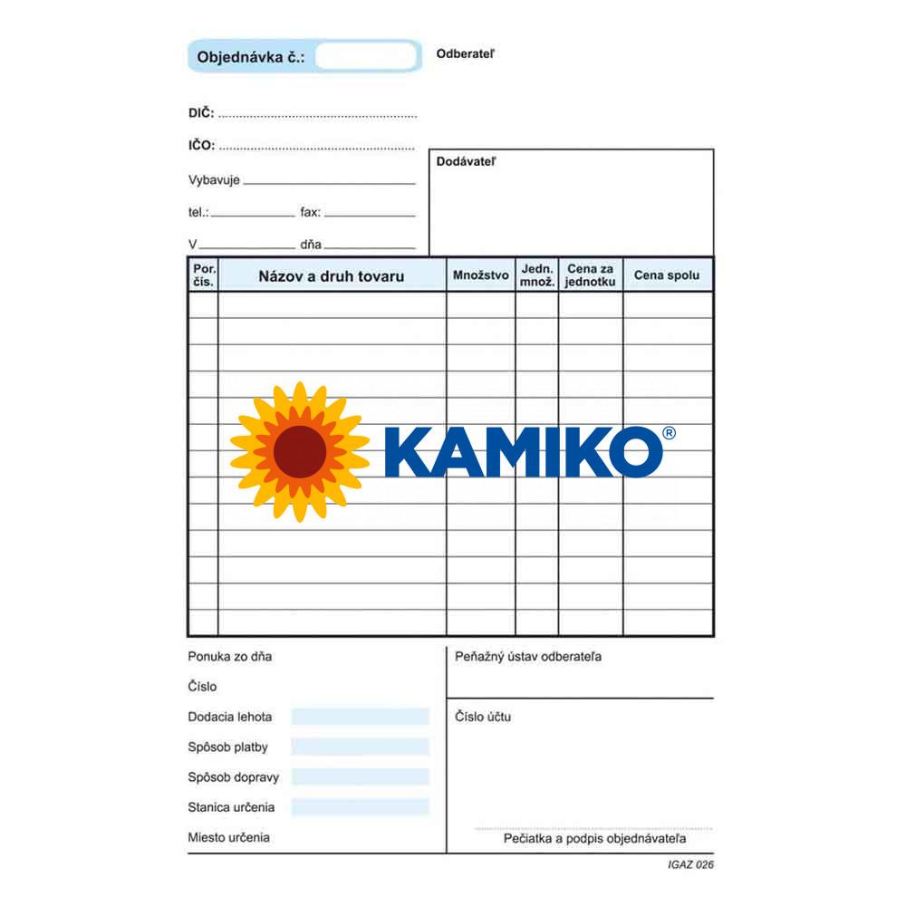 Objednávka A5 samoprepisovacia s kartónovou obálkou a podložkou, 100 listov
