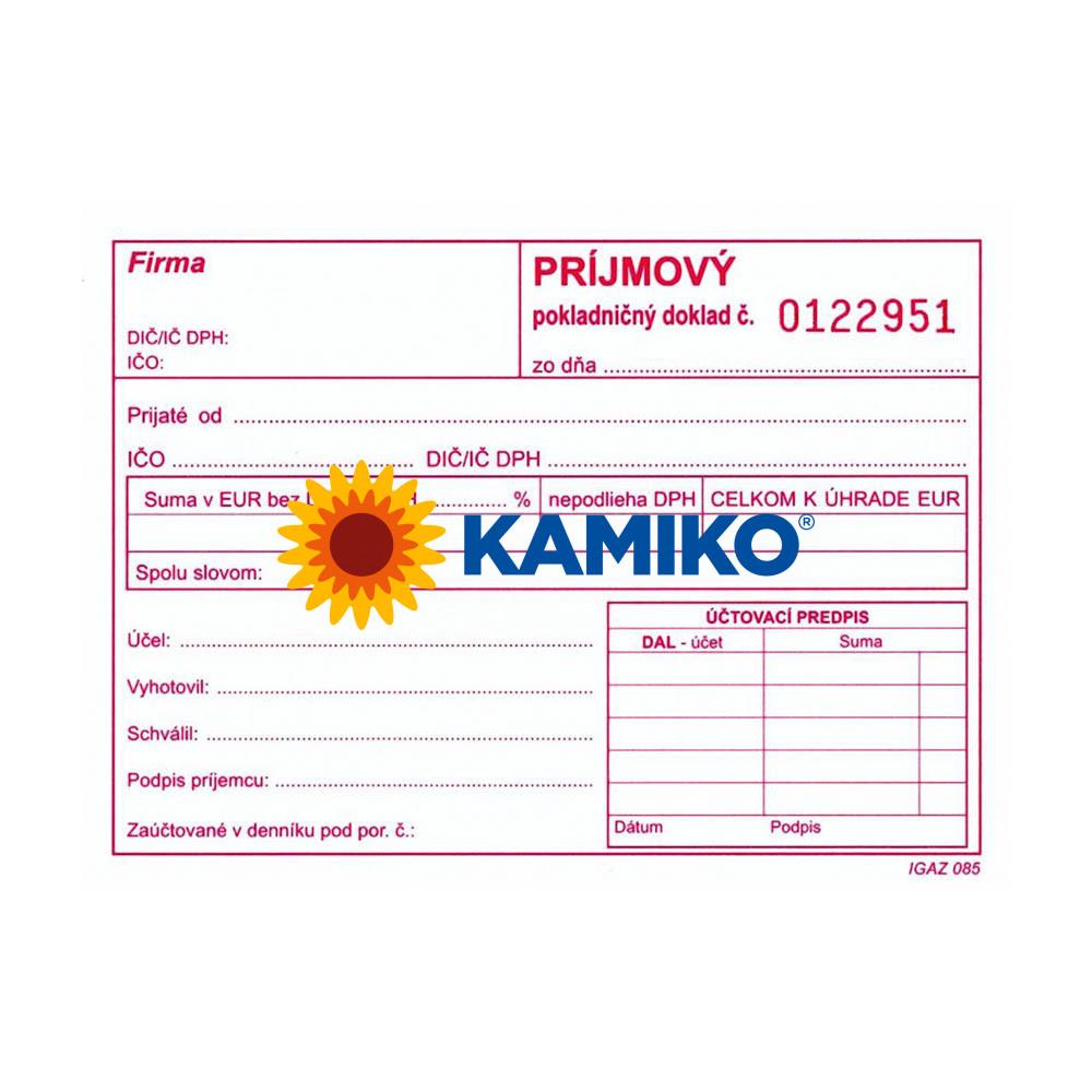 Príjmový pokladničný doklad s DPH A6 samoprepisovací číslovaný, 100 listov