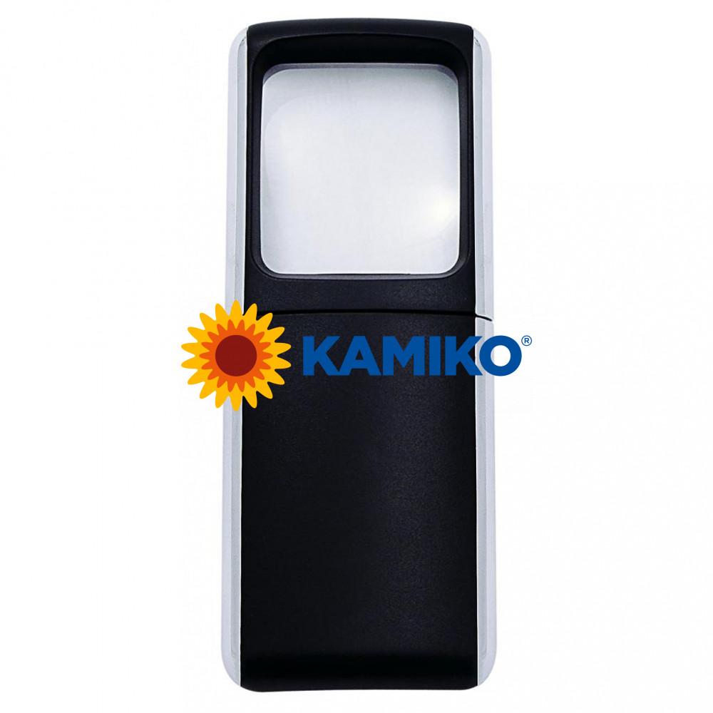 Lupa 3,5 x 3,8 cm s podsvietením čierna