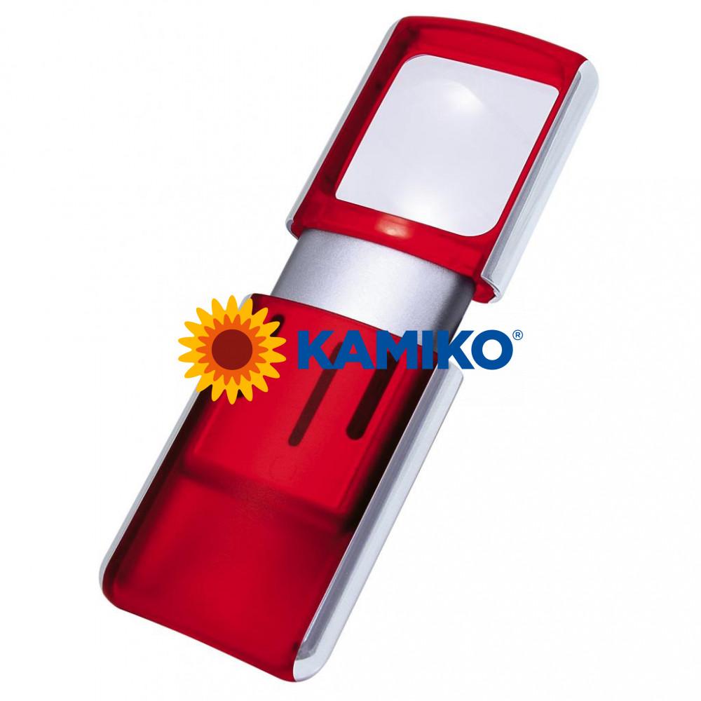 Lupa 3,5 x 3,8 cm s podsvietením červená