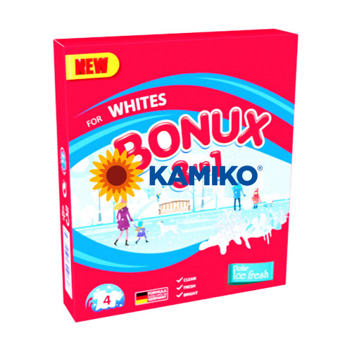 Prášok na pranie BONUX 3v1 Polar Ice Fresh, 300 g/4 PD na bielu bielizeň
