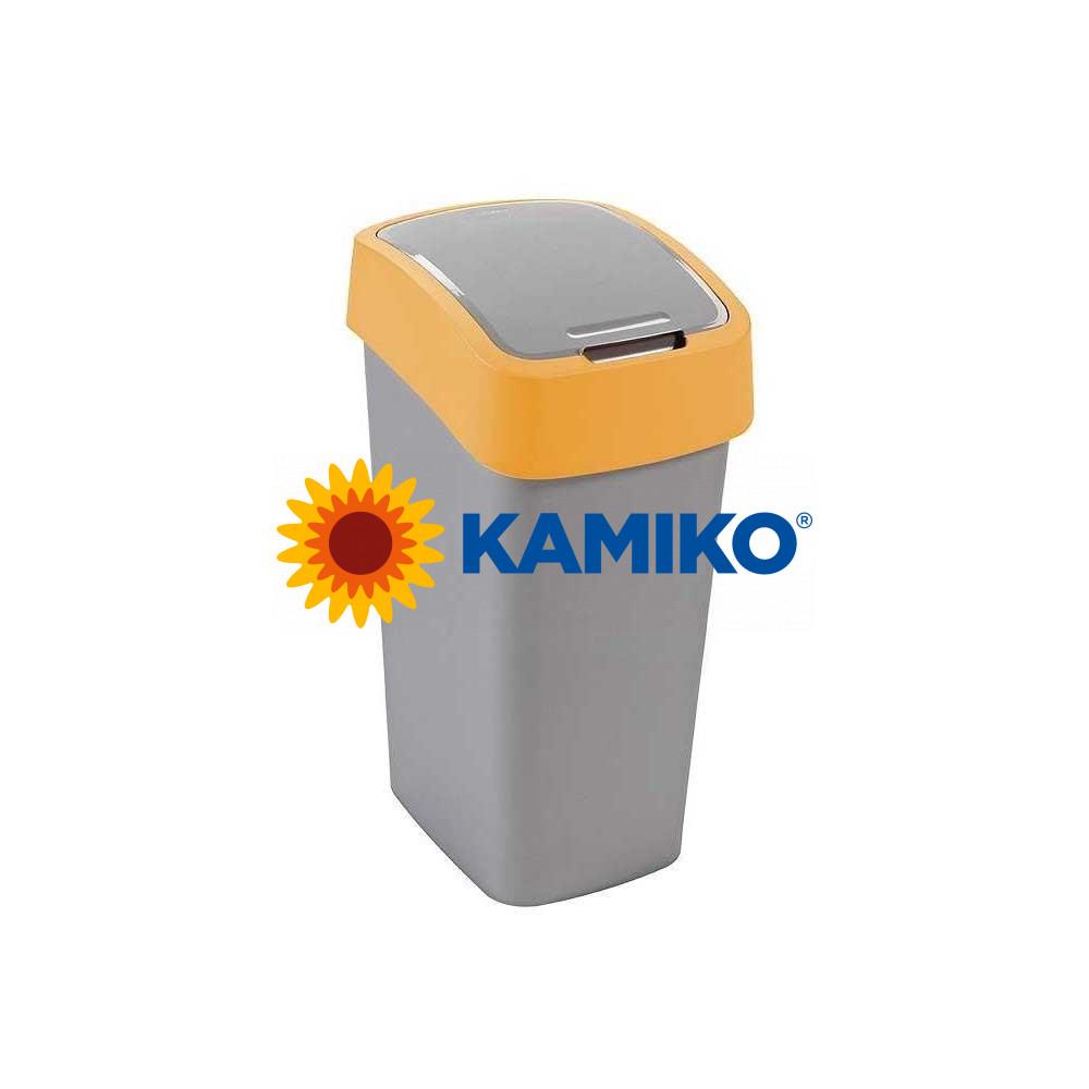Odpadkový kôš CURVER Flipbin 10 l strieborná/žltá