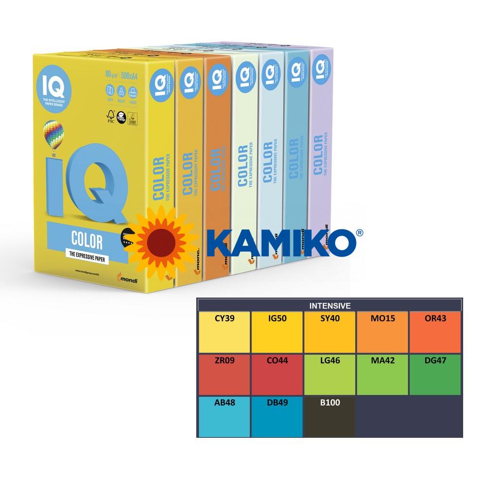 Farebný papier IQ color 5x20 mix intenzívne farby, A4 160g
