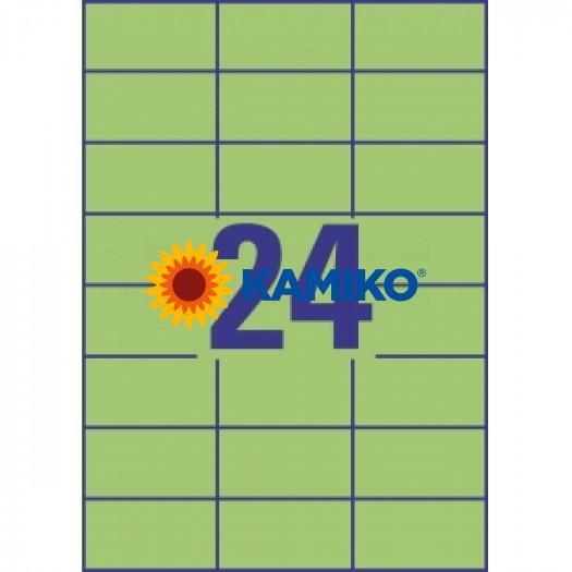 Etikety farebné 70x37 mm Avery A4 zelené, 100 listov