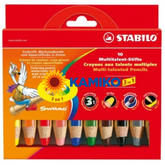 Farebné ceruzky STABILO woody 3 in 1 10 ks
