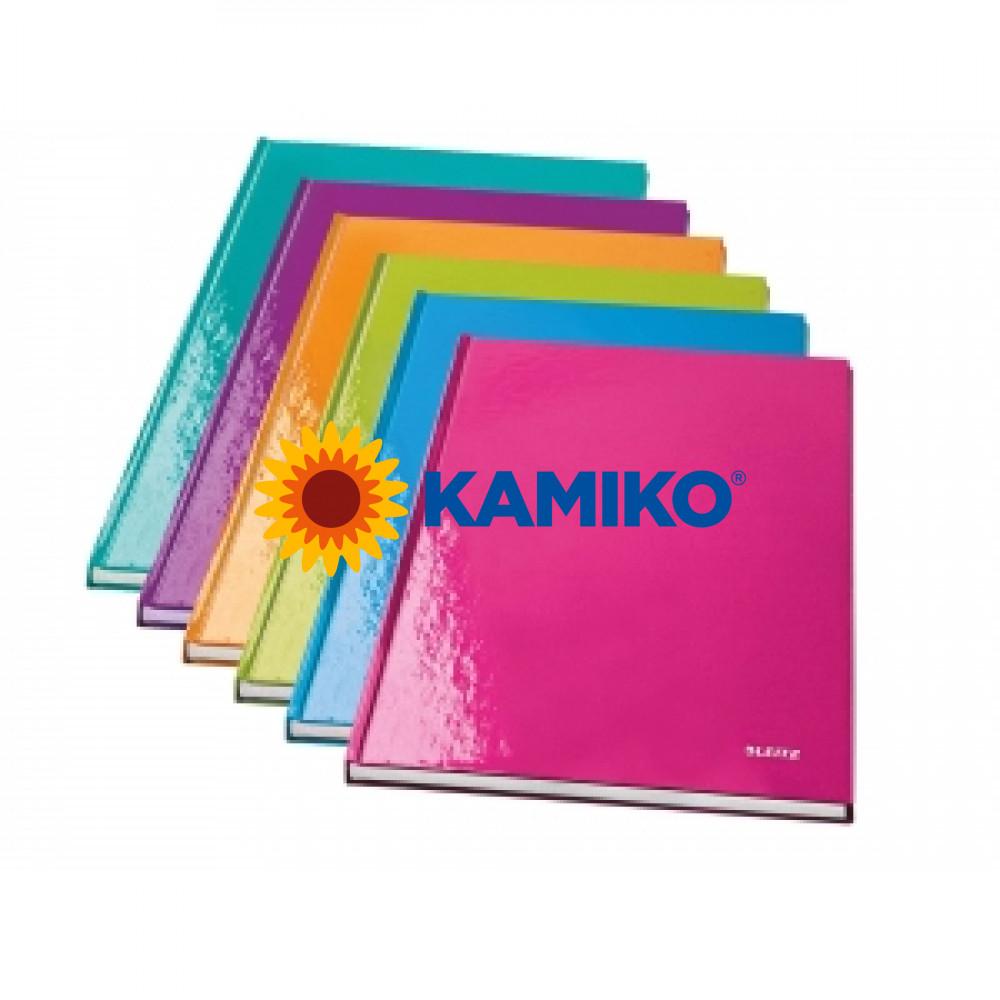 Záznamová kniha linajkovaná A4 80 listov Leitz WOW purpurová