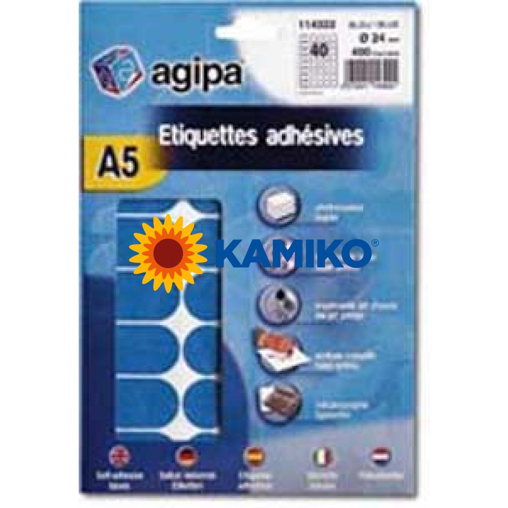 Agipa Etikety kruhové pr. 24 mm modré, 10 hárkov