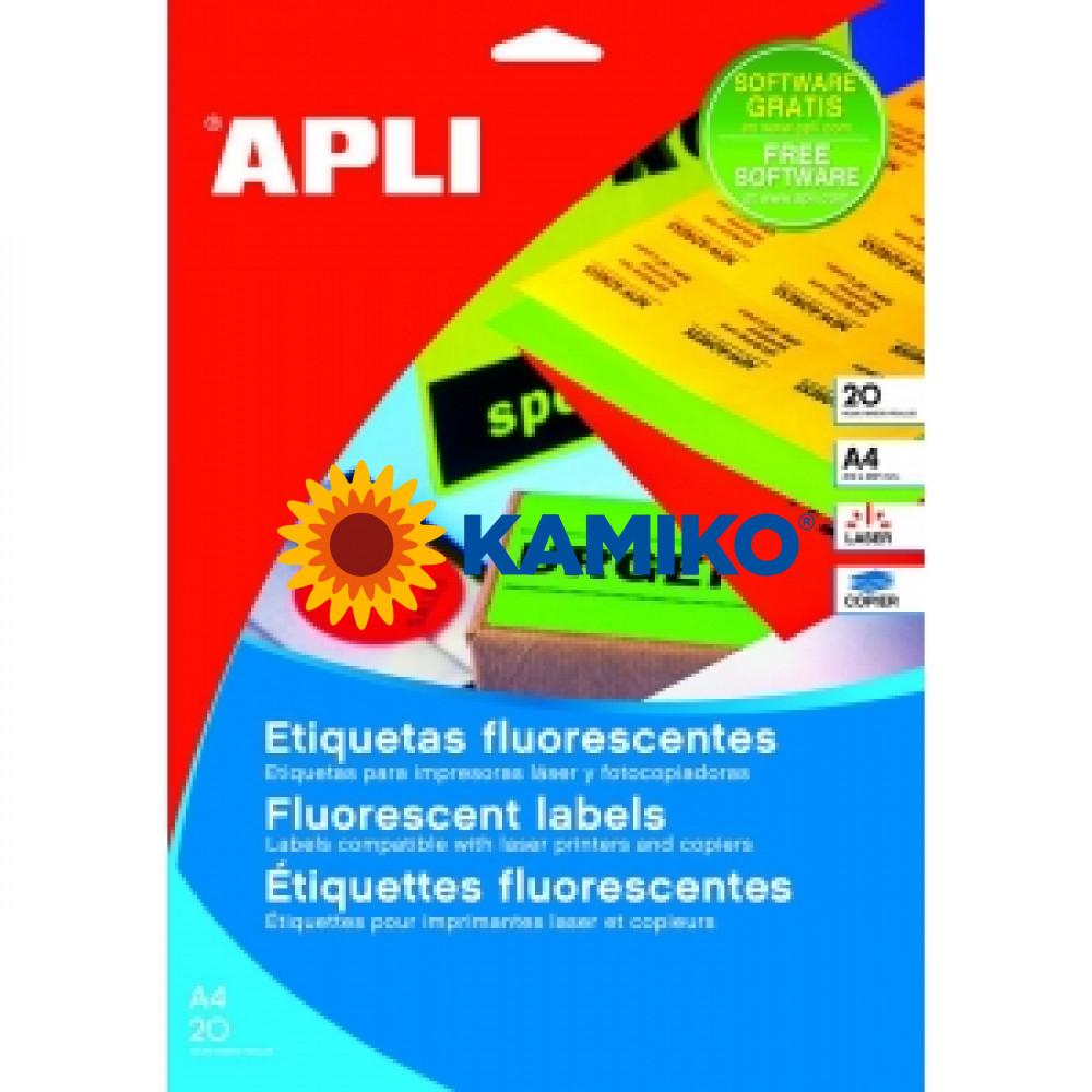 Etikety farebné APLI 210 x 297 mm fluorescenčné červené