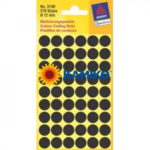 Etikety Avery kruhové 12 mm, čierne