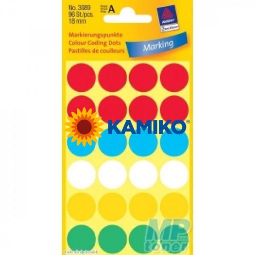 Etikety Avery kruhové 18 mm, mix farieb