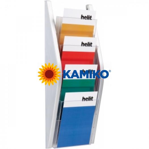 Prezentačný stojan Helit 4 x A5 strieborný