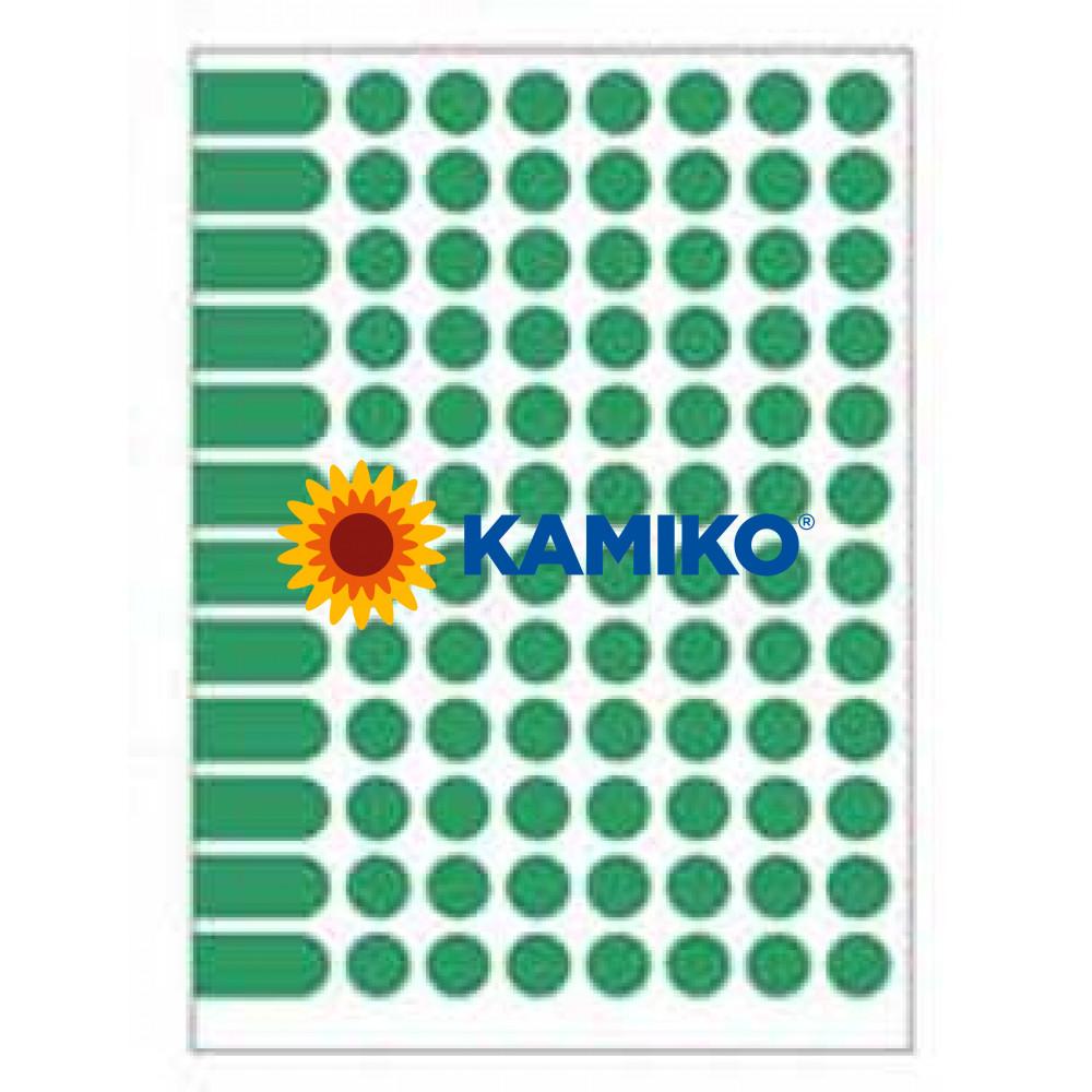 Agipa Etikety kruhové pr. 15 mm zelené, 10 hárkov