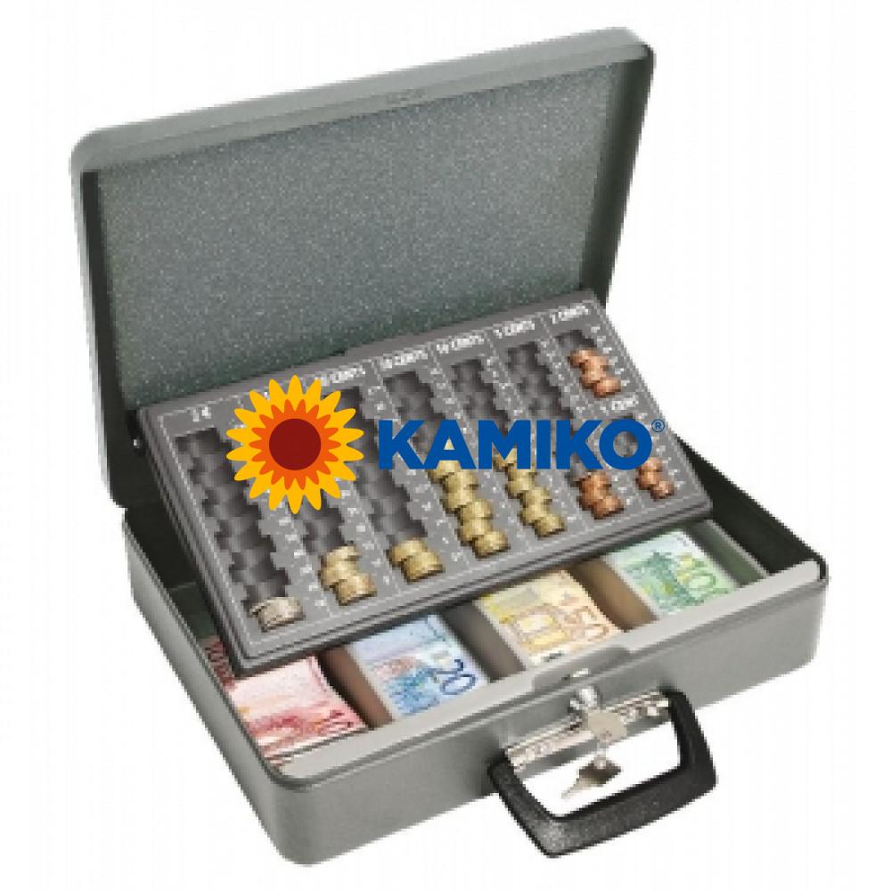 Euro-pokladnička WEDO Universa eco 370 x 100 x 280 mm, sivá