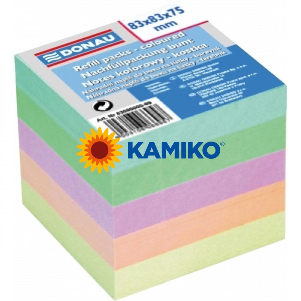 Blok kocka nelepená 83x83x75mm pastelové farby