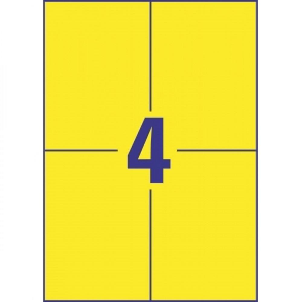 Etikety farebné 105 x 148 mm Avery A4 žlté, 100 listov