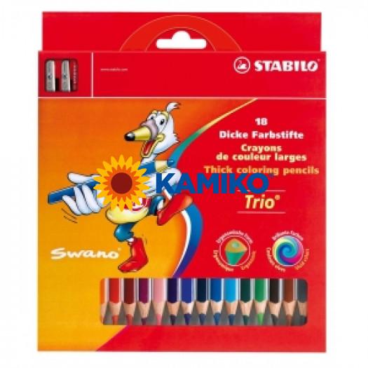Farebné ceruzky Stabilo Trio 18 ks