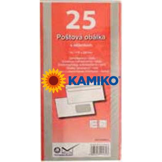 Poštové obálky DL samolepiace, okienko, 25 ks