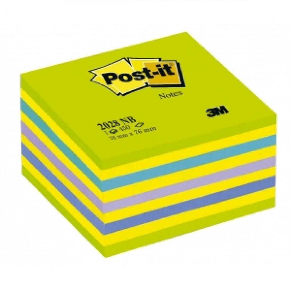 Samolepiaci bloček kocka Post-it 76x76 neónová zelená mix