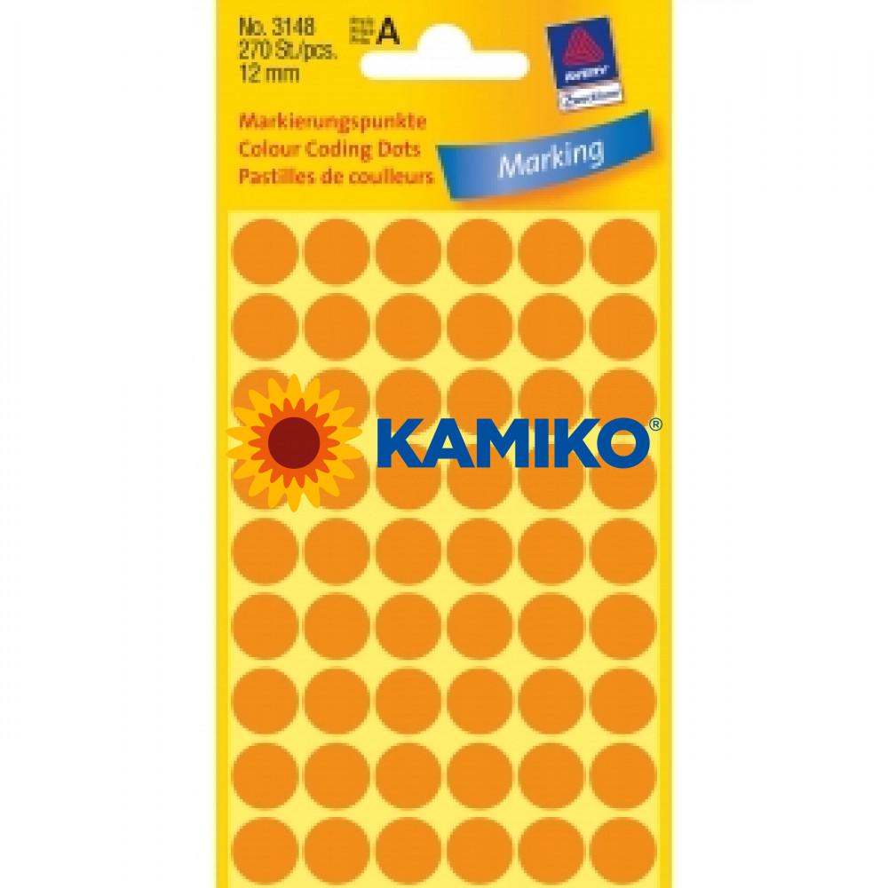 Etikety Avery kruhové 12 mm, neónovo oranžové