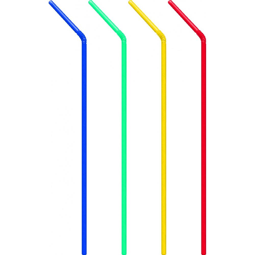 Slamky flexibilné, 24 cm, pr. 5 mm, mix farieb
