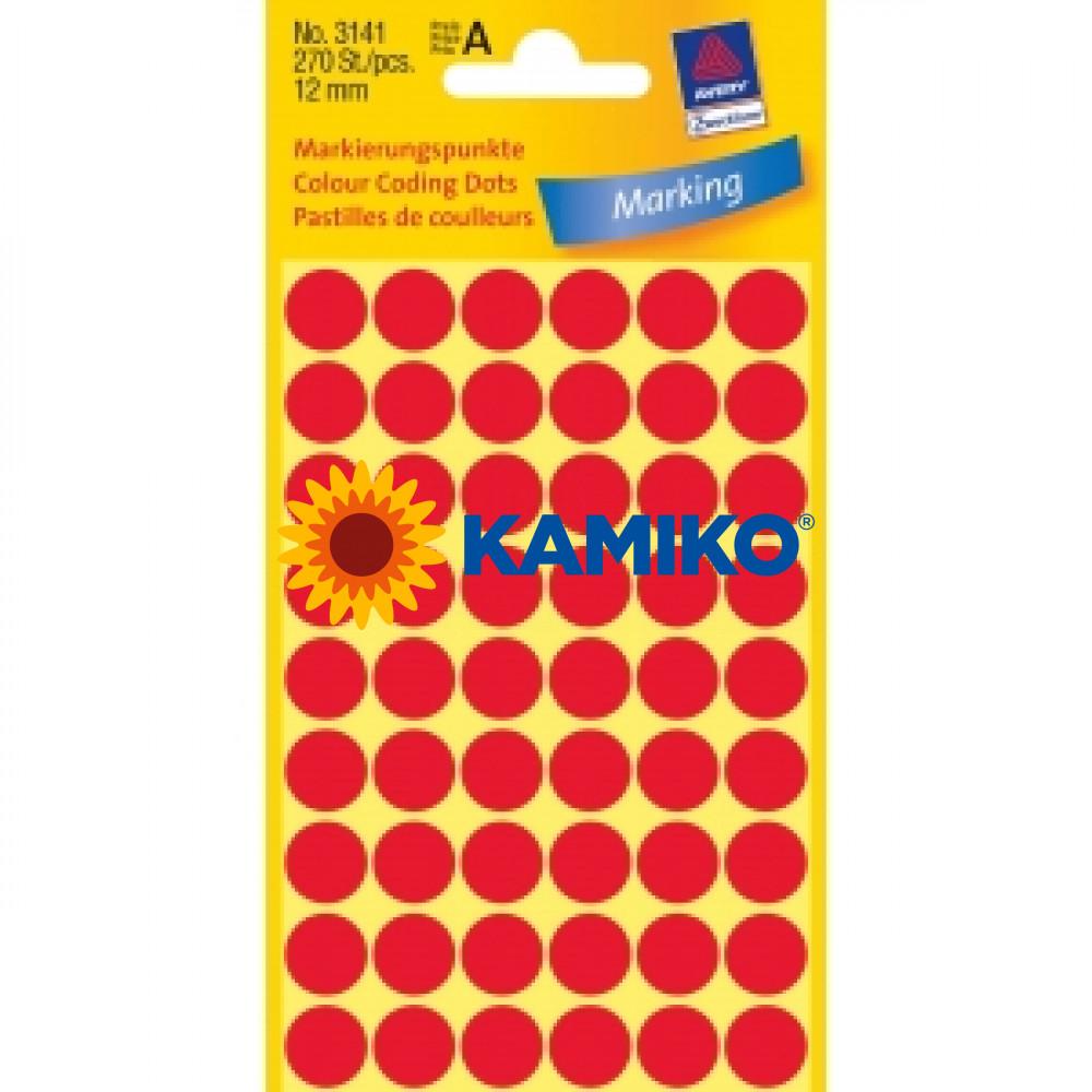 Etikety Avery kruhové 12 mm, červené
