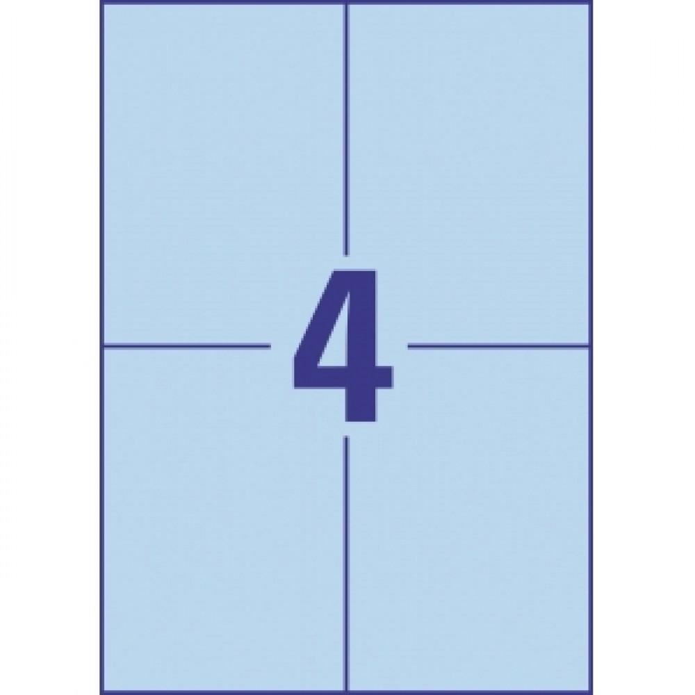 Etikety farebné 105 x 148 mm Avery A4 modré, 100 listov