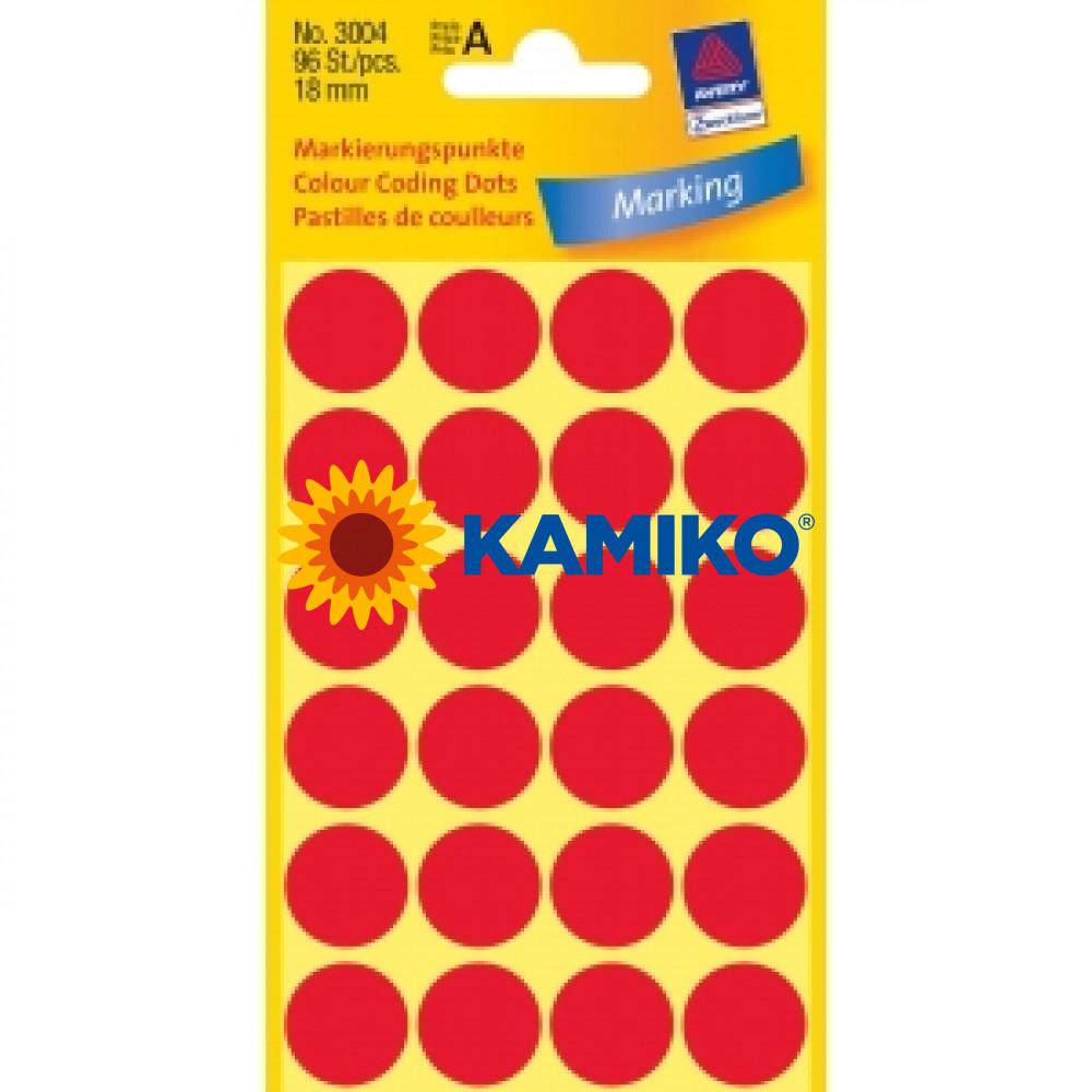 Etikety Avery kruhové 18 mm, červené