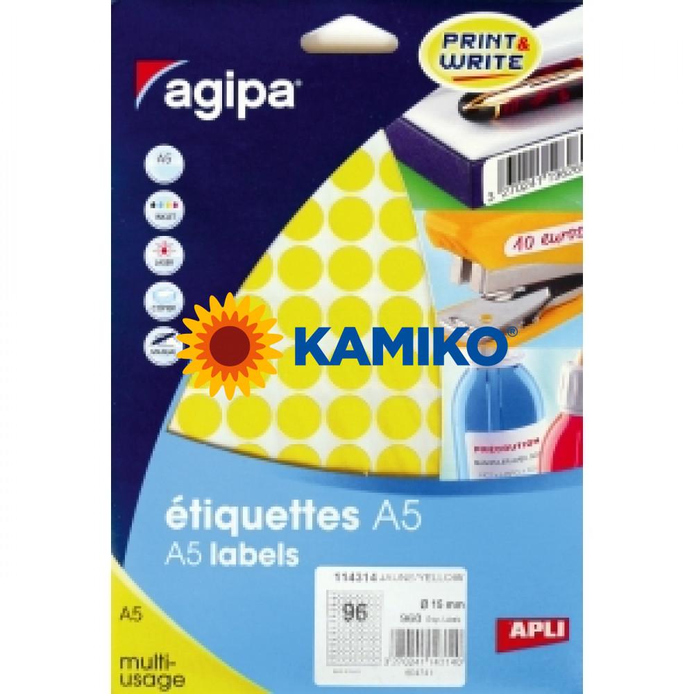 Agipa Etikety kruhové pr. 15 mm žlté, 10 hárkov