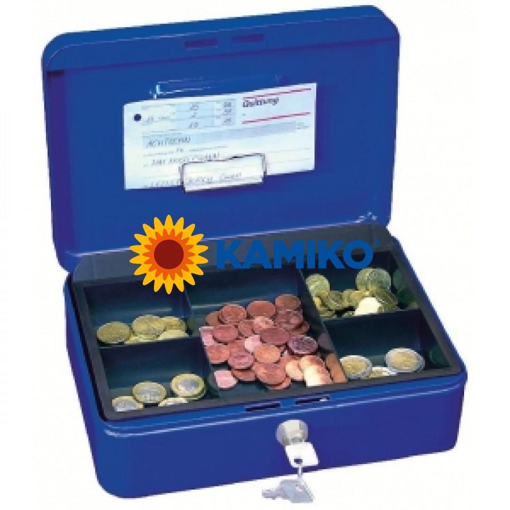 Pokladnička modrá s klipom 250x180x90 mm