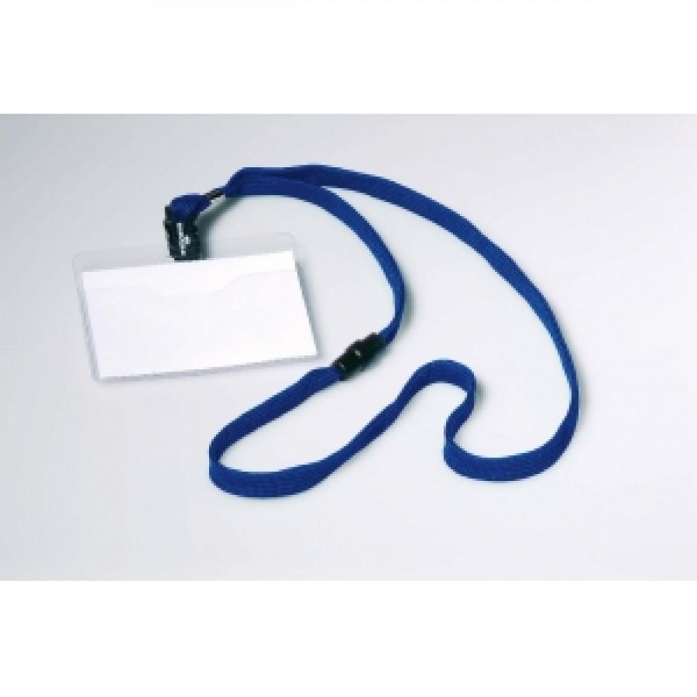 Visačka 90x60 mm s modrým remienkom 10 ks