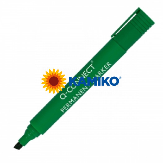 Permanentný popisovač 1,5-3mm zrezaný hrot Q-CONNECT zelený