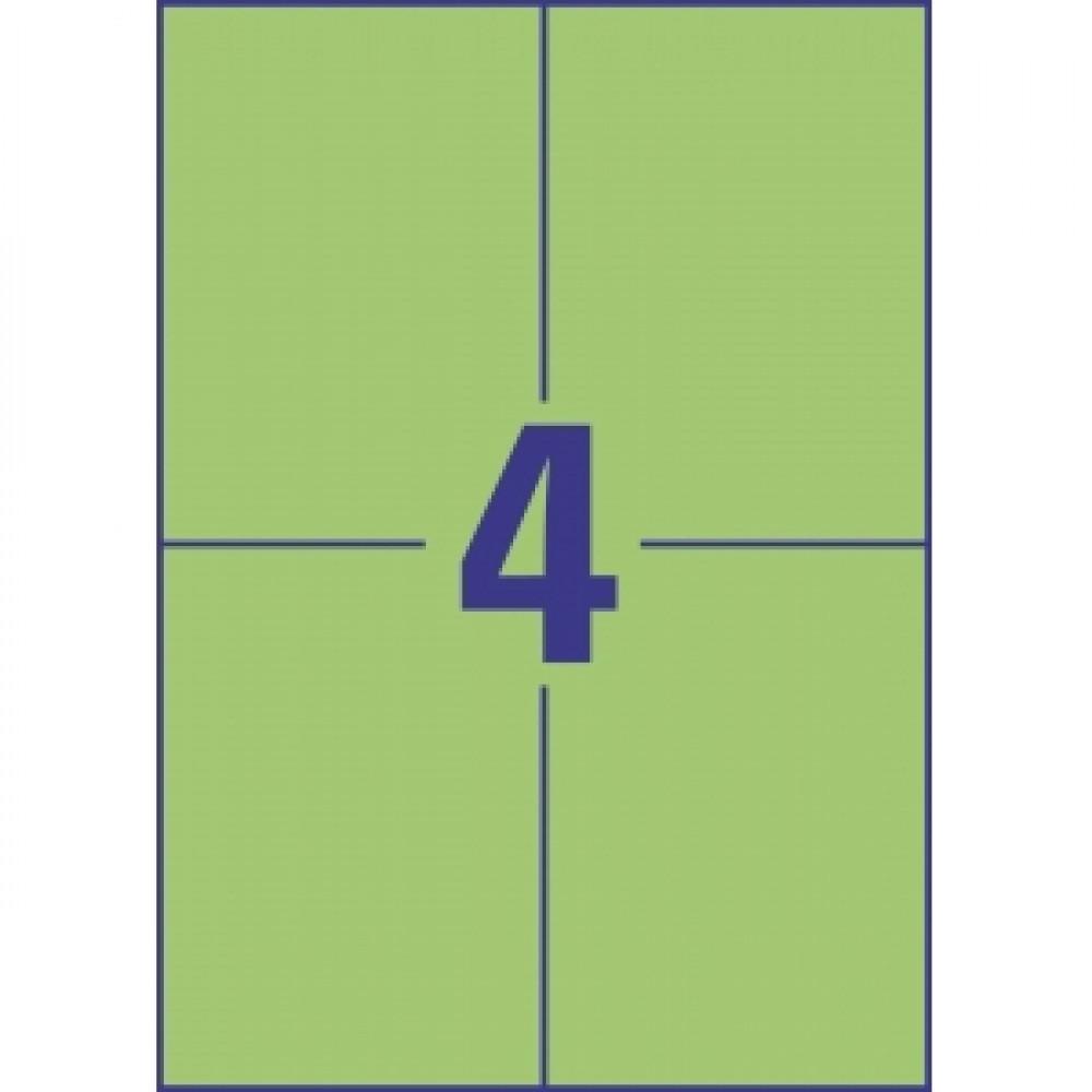 Etikety farebné 105 x 148 mm Avery A4 zelené, 100 listov