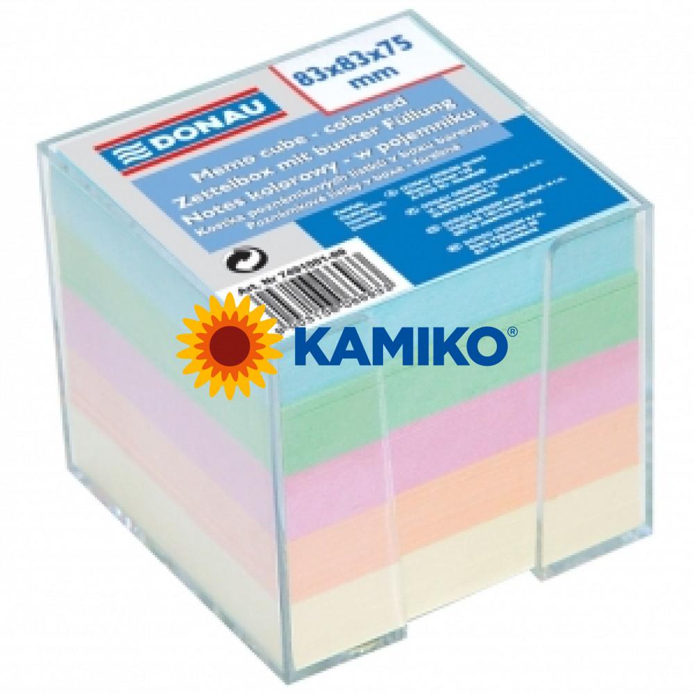 Blok kocka nelepená 83x83x75mm pastelové farby číra škatuľka