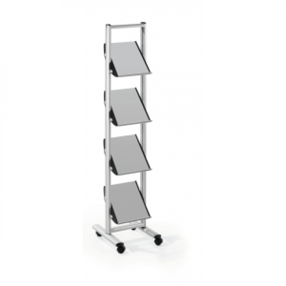 Mobilný prezentačný stojan 4xA4 sivá/kov