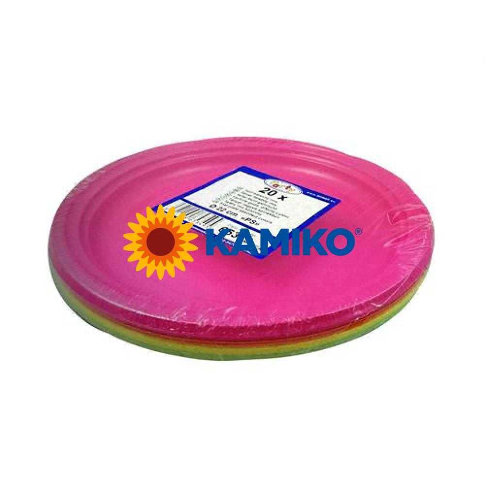 Plastový tanier farebný mix 22 cm (PS)