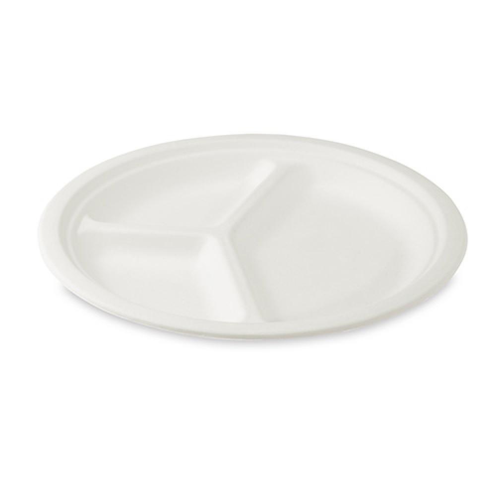 Tanier delený na 3 porcie BIO cukrová trstina Ø 26 cm, 50 ks/balenie