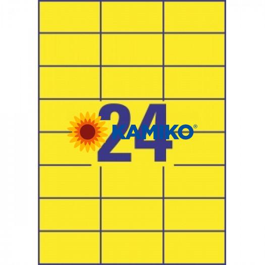 Etikety farebné 70x37 mm Avery A4 žlté, 100 listov