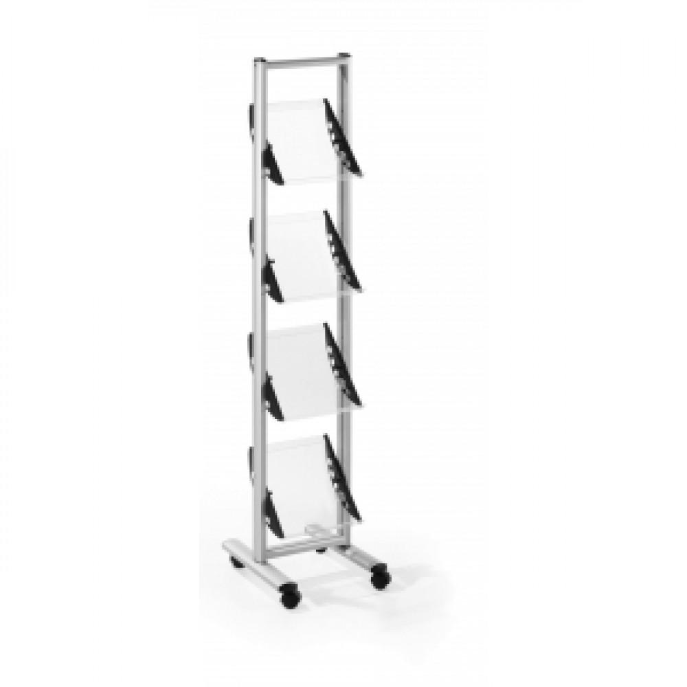Mobilný prezentačný stojan 4xA4 sivá/akryl