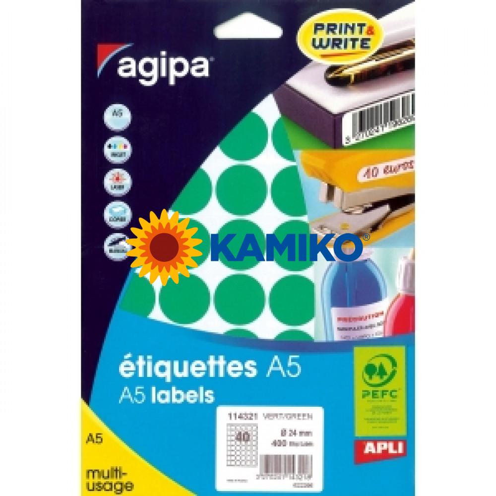 Agipa Etikety kruhové pr. 24 mm zelené, 10 hárkov